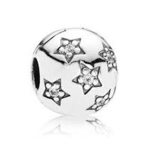 Authentic Pandora Silver Star Clip Charm NWT